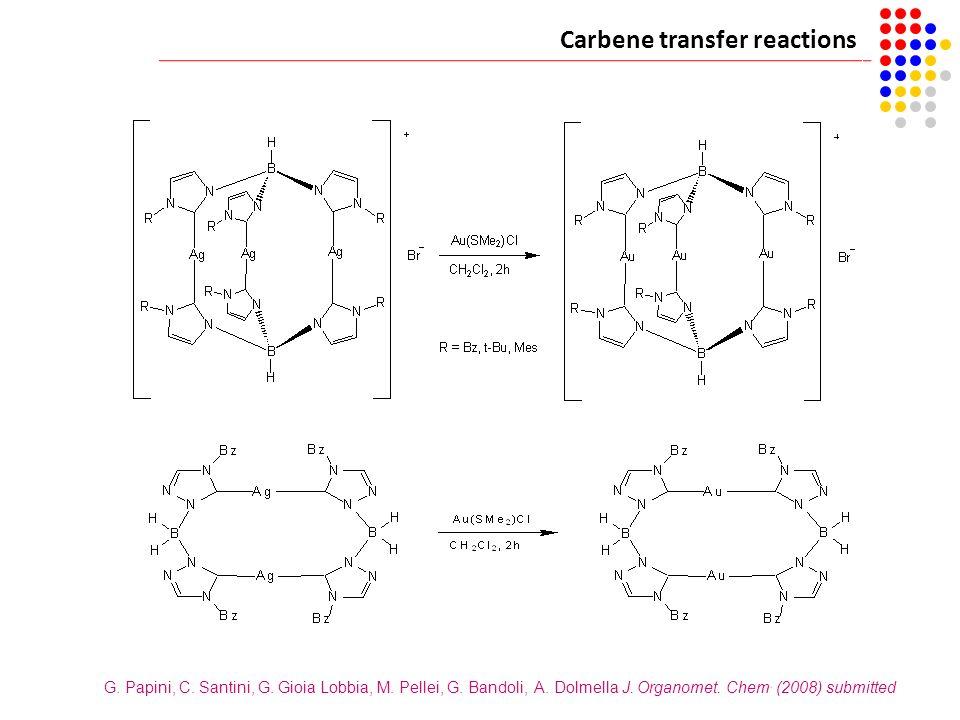 Carbene transfer reactions G. Papini, C. Santini, G. Gioia Lobbia, M. Pellei, G. Bandoli, A. Dolmella J. Organomet. Chem. (2008) submitted