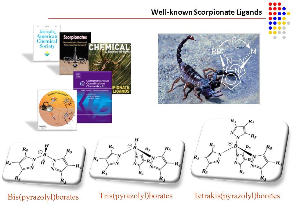 Well-known Scorpionate Ligands Bis(pyrazolyl)borates Tris(pyrazolyl)boratesTetrakis(pyrazolyl)borates