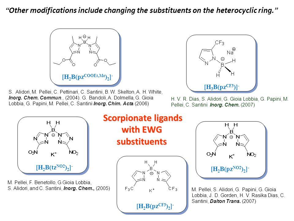 Scorpionate ligands with EWG substituents Scorpionate ligands with EWG substituents [H 2 B(pz COOEt,Me ) 2 ] - [H 2 B(tz NO2 ) 2 ] - [H 2 B(pz NO2 ) 2