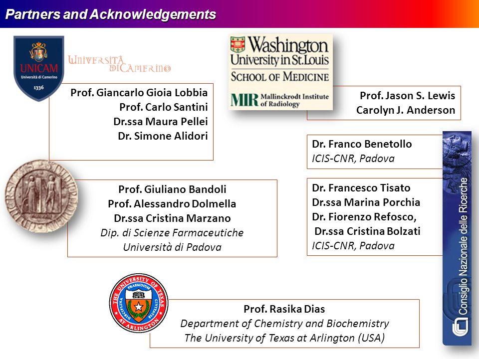 Partners and Acknowledgements Prof. Giuliano Bandoli Prof. Alessandro Dolmella Dr.ssa Cristina Marzano Dip. di Scienze Farmaceutiche Università di Pad