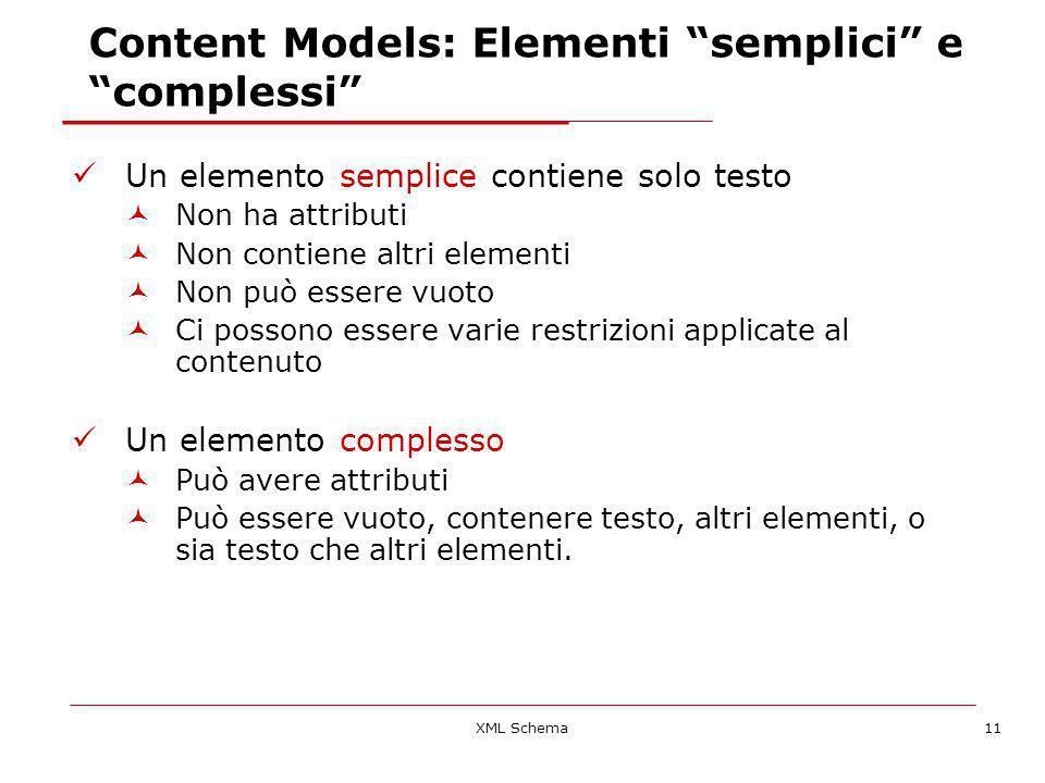 XML Schema11 Content Models: Elementi semplici e complessi Un elemento semplice contiene solo testo Non ha attributi Non contiene altri elementi Non può essere vuoto Ci possono essere varie restrizioni applicate al contenuto Un elemento complesso Può avere attributi Può essere vuoto, contenere testo, altri elementi, o sia testo che altri elementi.