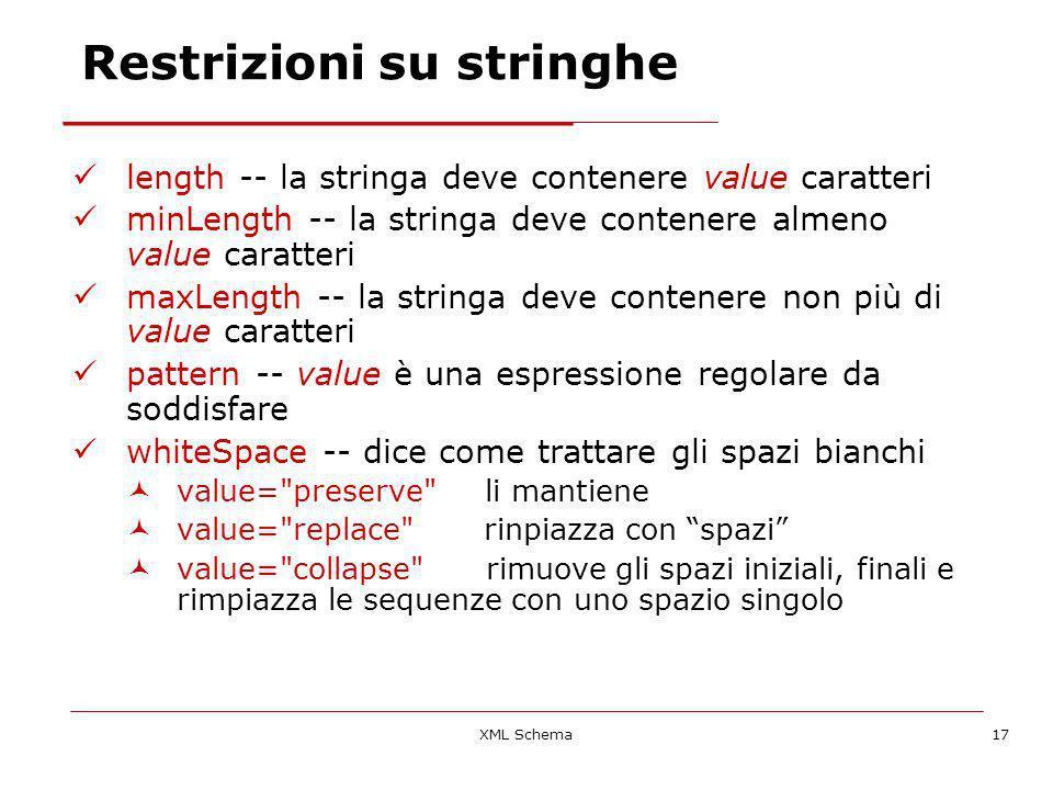 XML Schema17 Restrizioni su stringhe length -- la stringa deve contenere value caratteri minLength -- la stringa deve contenere almeno value caratteri maxLength -- la stringa deve contenere non più di value caratteri pattern -- value è una espressione regolare da soddisfare whiteSpace -- dice come trattare gli spazi bianchi value= preserve li mantiene value= replace rinpiazza con spazi value= collapse rimuove gli spazi iniziali, finali e rimpiazza le sequenze con uno spazio singolo