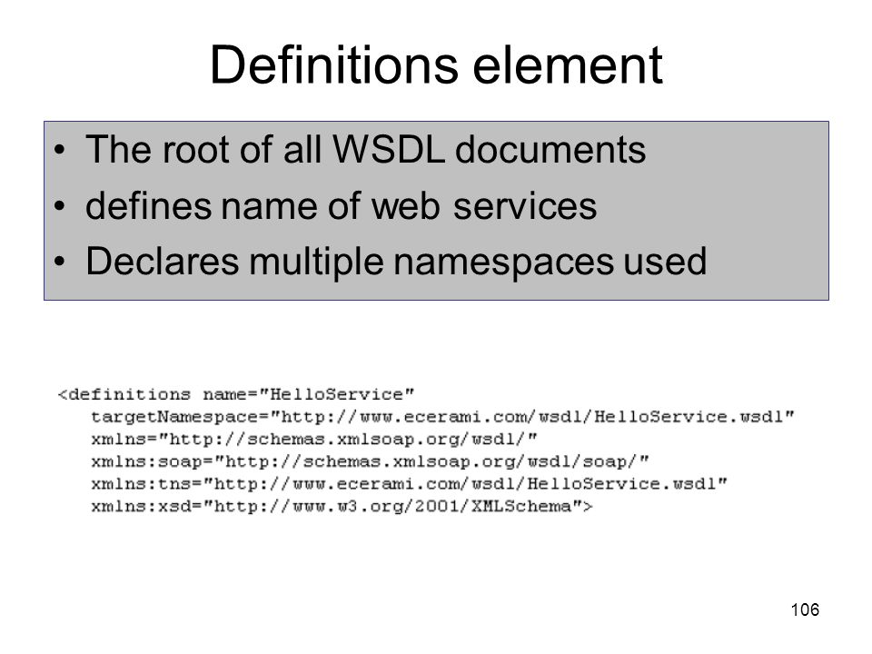 106 Definitions element The root of all WSDL documents defines name of web services Declares multiple namespaces used