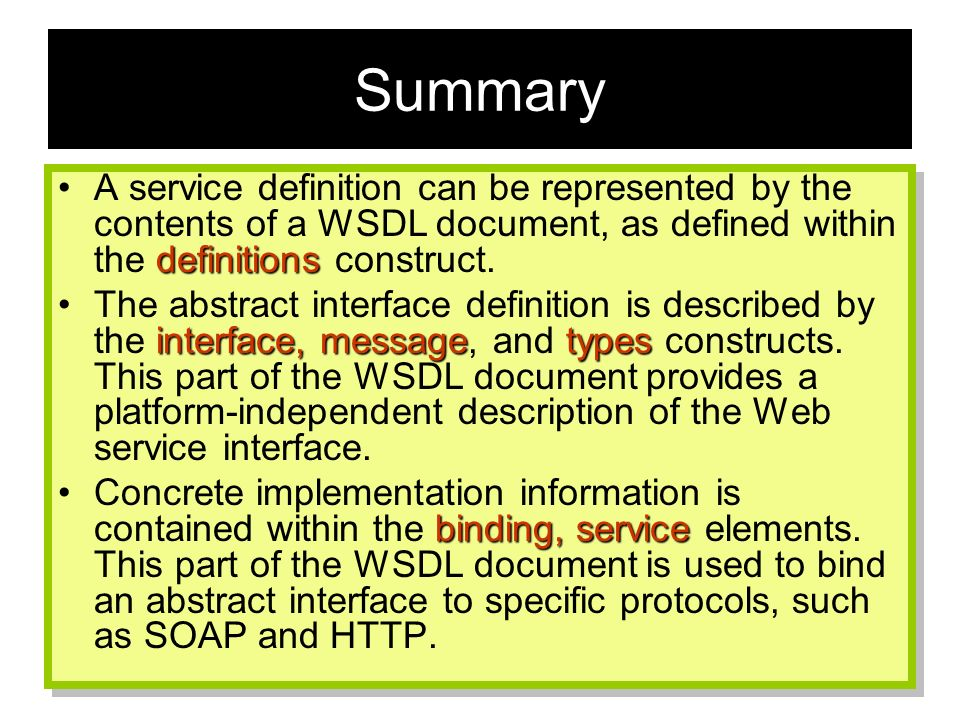 114 Summary definitionsA service definition can be represented by the contents of a WSDL document, as defined within the definitions construct. interf