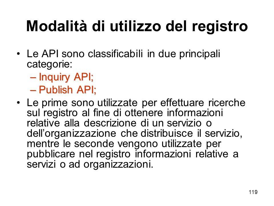 119 Modalità di utilizzo del registro Le API sono classificabili in due principali categorie: –Inquiry API; –Publish API; Le prime sono utilizzate per