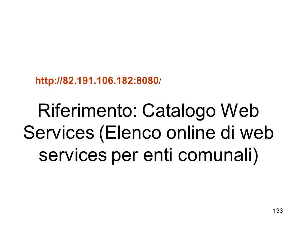 133 http://82.191.106.182:8080 / Riferimento: Catalogo Web Services (Elenco online di web services per enti comunali)