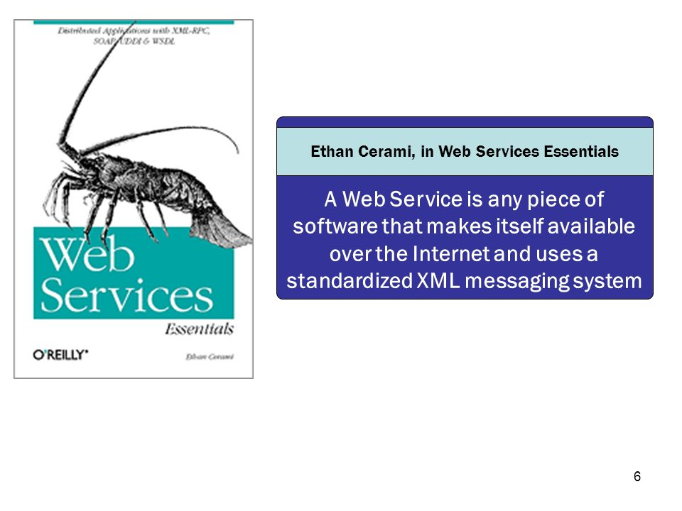 6 A Web Service is any piece of software that makes itself available over the Internet and uses a standardized XML messaging system Ethan Cerami, in W