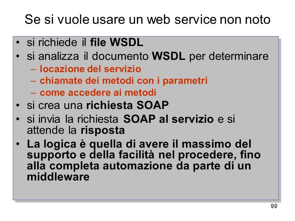 99 Se si vuole usare un web service non noto si richiede il file WSDL si analizza il documento WSDL per determinare –locazione del servizio –chiamate