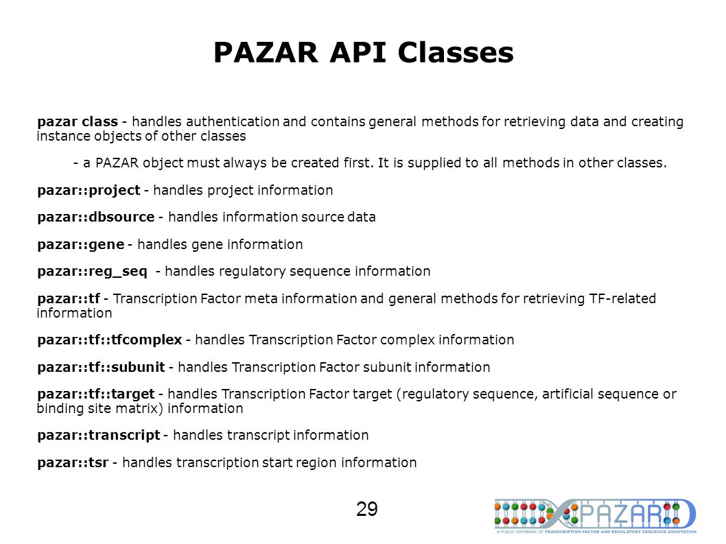 PAZAR API Classes pazar class - handles authentication and contains general methods for retrieving data and creating instance objects of other classes