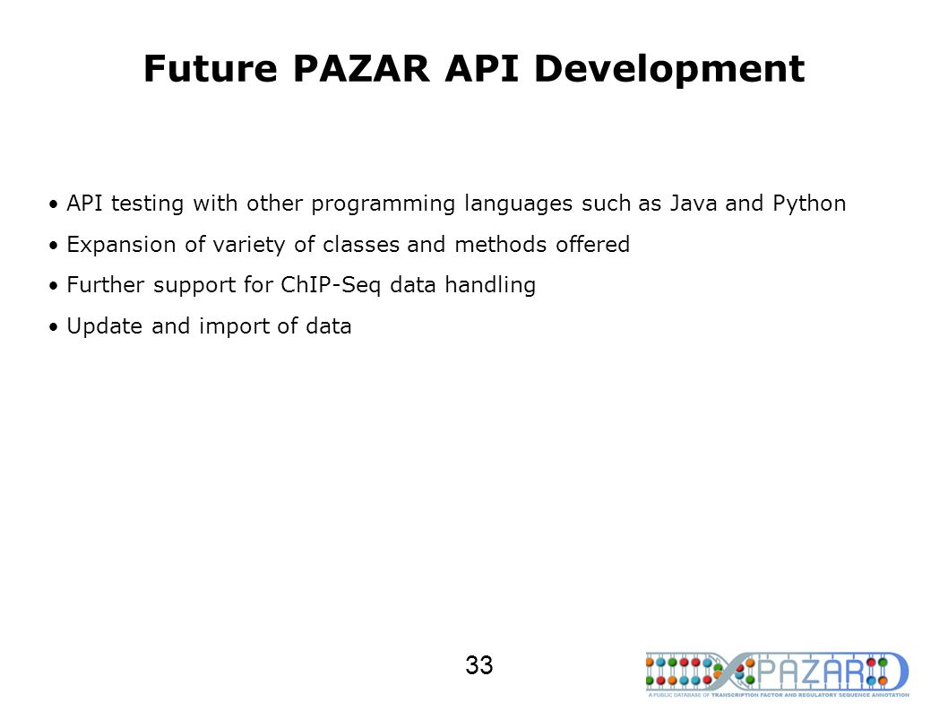 Future PAZAR API Development API testing with other programming languages such as Java and Python Expansion of variety of classes and methods offered