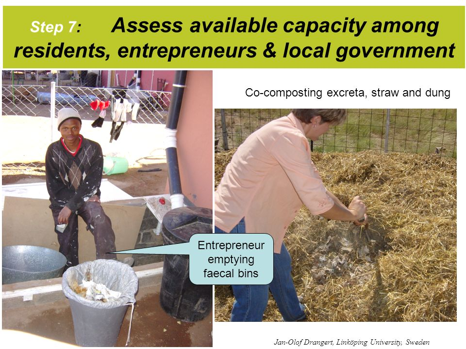 Step 7: Assess available capacity among residents, entrepreneurs & local government Jan-Olof Drangert, Linköping University, Sweden Co-composting excr