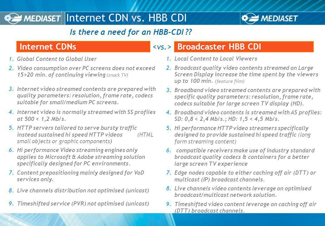 Is there a need for an HBB-CDI . Internet CDN vs.