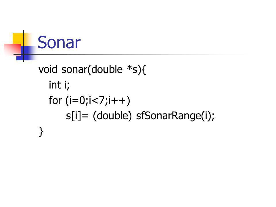 Sonar void sonar(double *s){ int i; for (i=0;i<7;i++) s[i]= (double) sfSonarRange(i); }