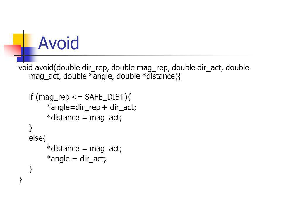 Avoid void avoid(double dir_rep, double mag_rep, double dir_act, double mag_act, double *angle, double *distance){ if (mag_rep <= SAFE_DIST){ *angle=dir_rep + dir_act; *distance = mag_act; } else{ *distance = mag_act; *angle = dir_act; }