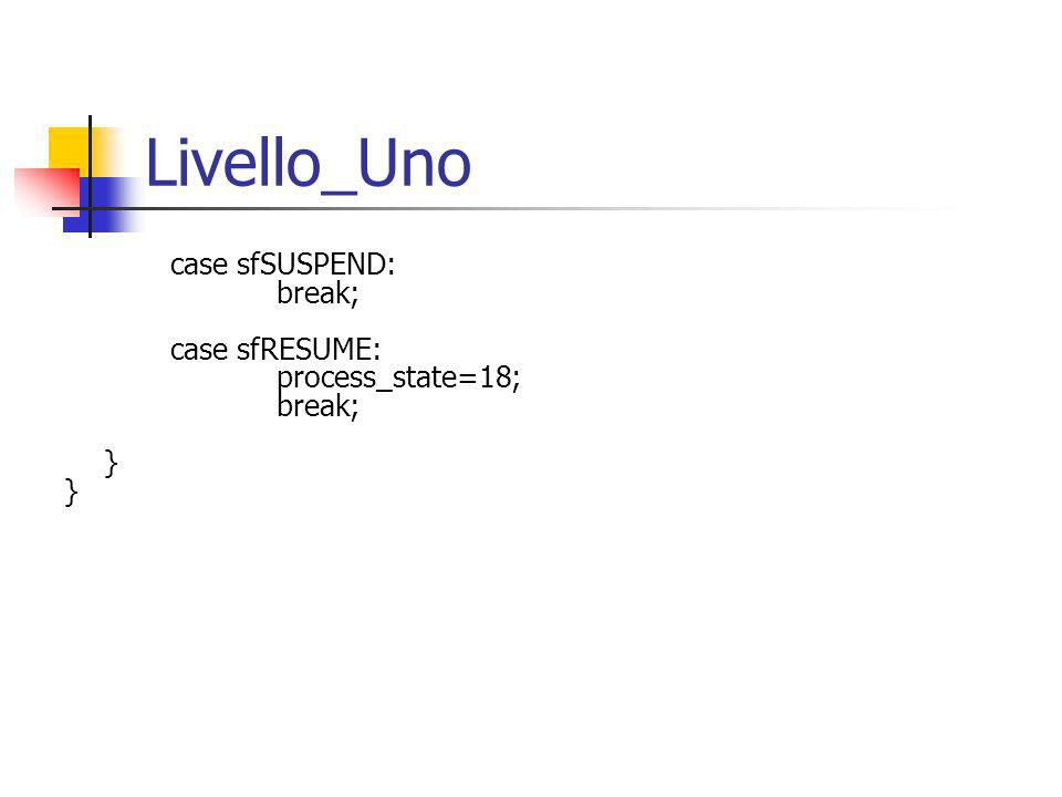 Livello_Uno case sfSUSPEND: break; case sfRESUME: process_state=18; break; }