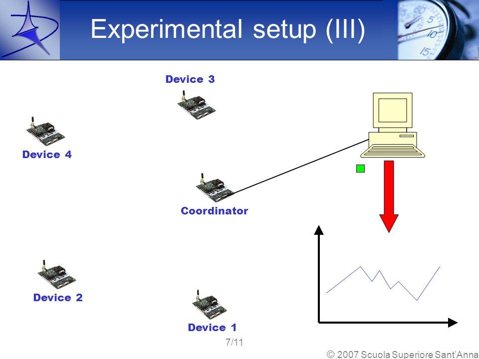 Coordinator Device 1 Device 2 Device 3 Device 4 Experimental setup (III) 7/11 © 2007 Scuola Superiore SantAnna