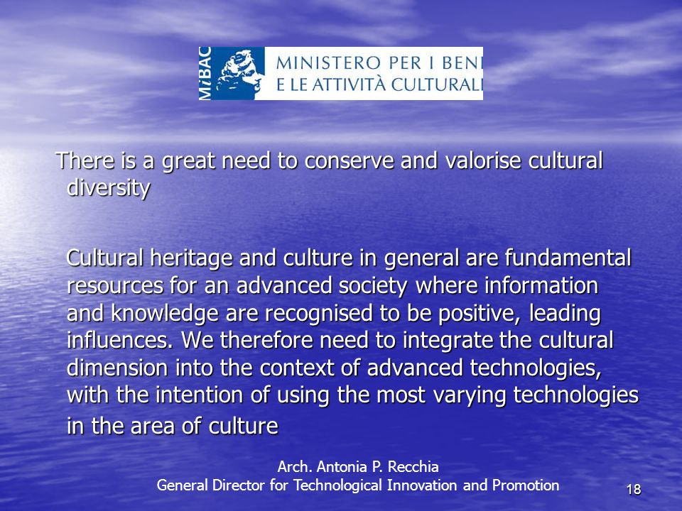 18 There is a great need to conserve and valorise cultural diversity There is a great need to conserve and valorise cultural diversity Cultural heritage and culture in general are fundamental resources for an advanced society where information and knowledge are recognised to be positive, leading influences.