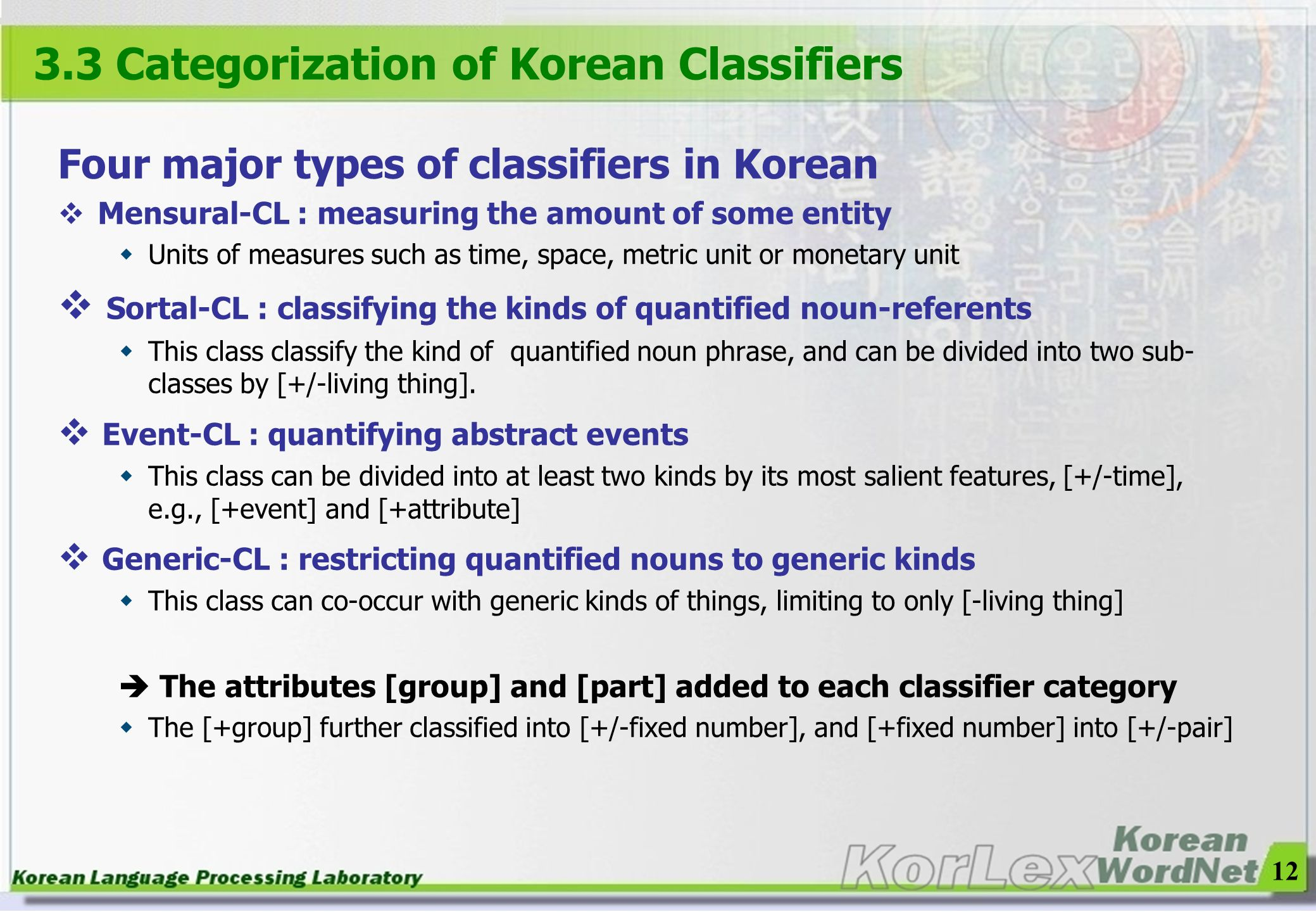 12 Four major types of classifiers in Korean Mensural-CL : measuring the amount of some entity Units of measures such as time, space, metric unit or m