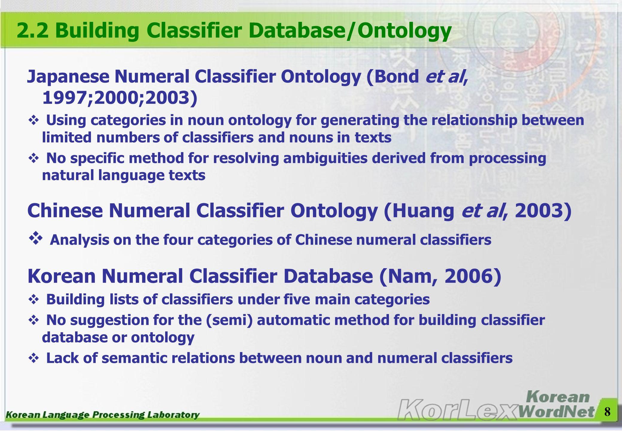 8 2.2 Building Classifier Database/Ontology Japanese Numeral Classifier Ontology (Bond et al, 1997;2000;2003) Using categories in noun ontology for ge
