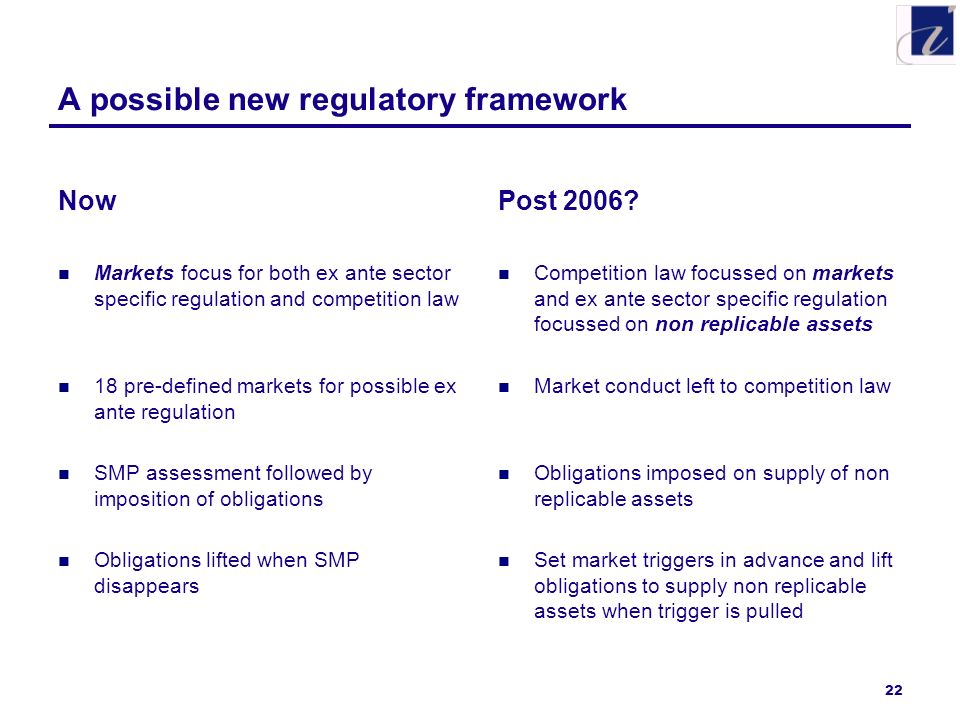 22 A possible new regulatory framework Now Markets focus for both ex ante sector specific regulation and competition law 18 pre-defined markets for possible ex ante regulation SMP assessment followed by imposition of obligations Obligations lifted when SMP disappears Post 2006.