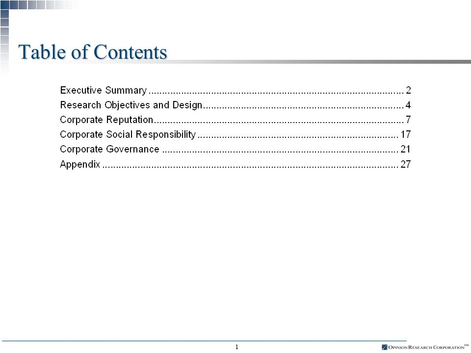 Corporate Reputation Watch Prepared for Research conducted by October, 2003 Summary of Findings and