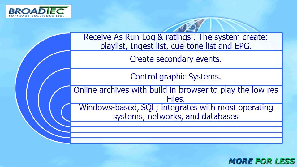 Receive As Run Log & ratings. The system create: playlist, Ingest list, cue-tone list and EPG.
