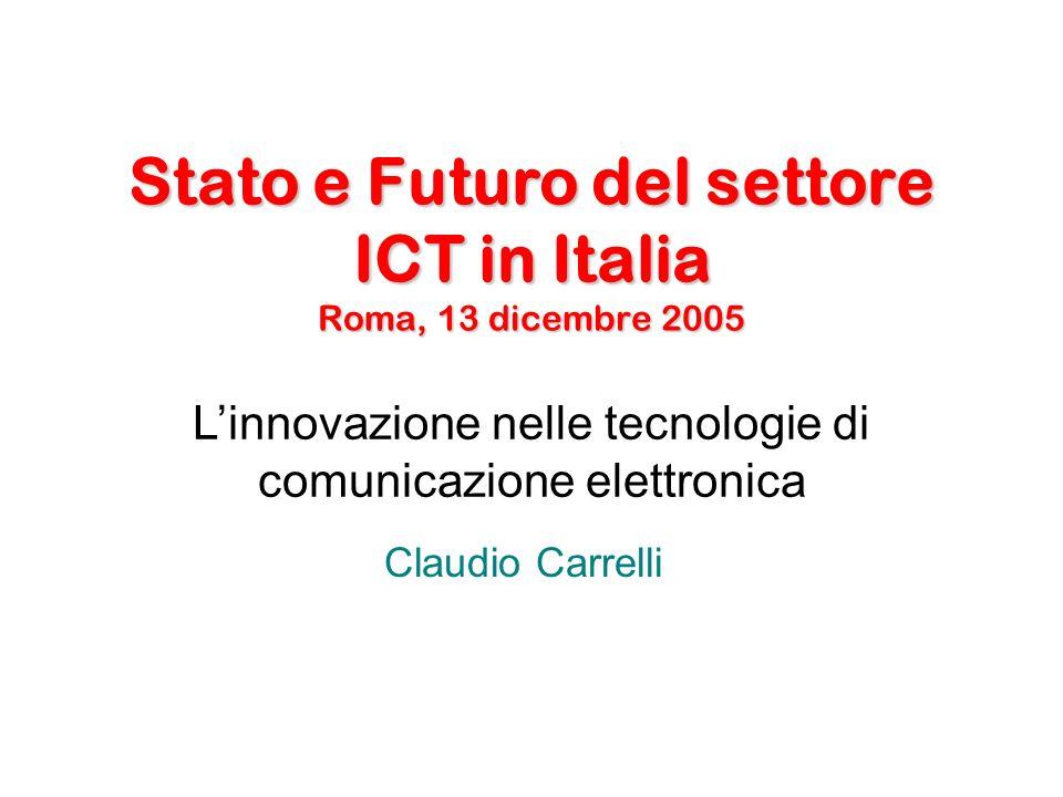 Stato e Futuro del settore ICT in Italia Roma, 13 dicembre 2005 Claudio Carrelli Linnovazione nelle tecnologie di comunicazione elettronica