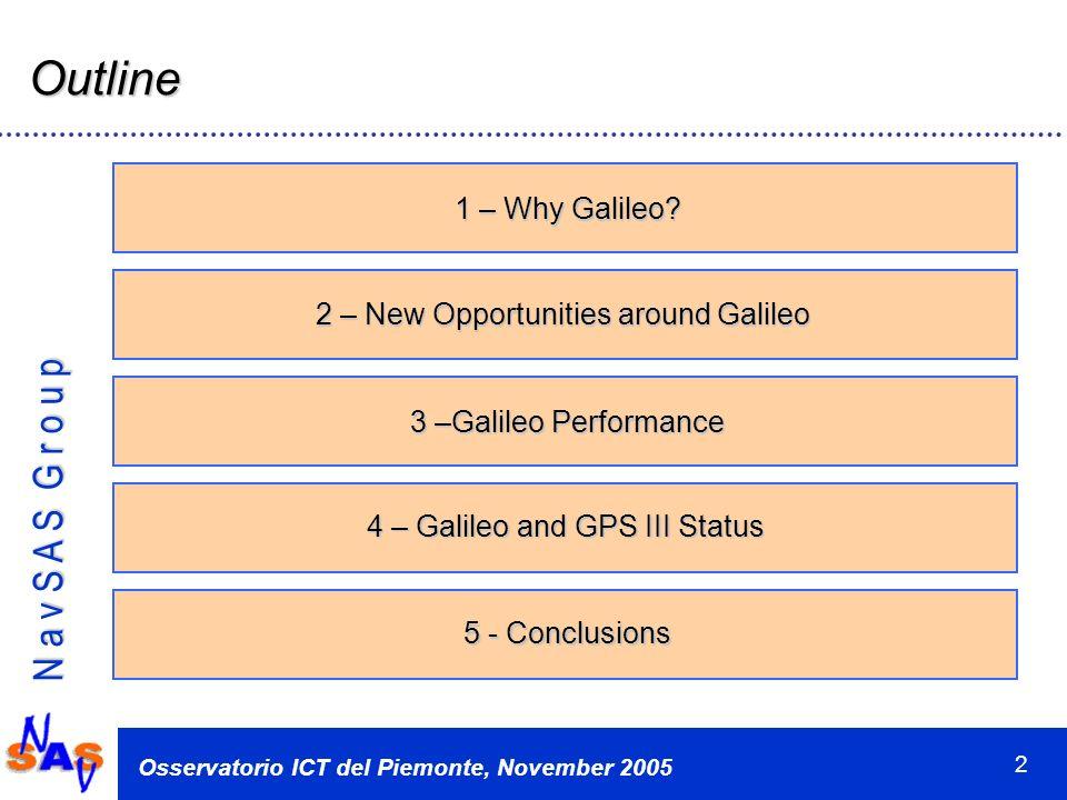 N a v S A S G r o u p Osservatorio ICT del Piemonte, November 2005 13 GPS Modernization: New Civil Signals