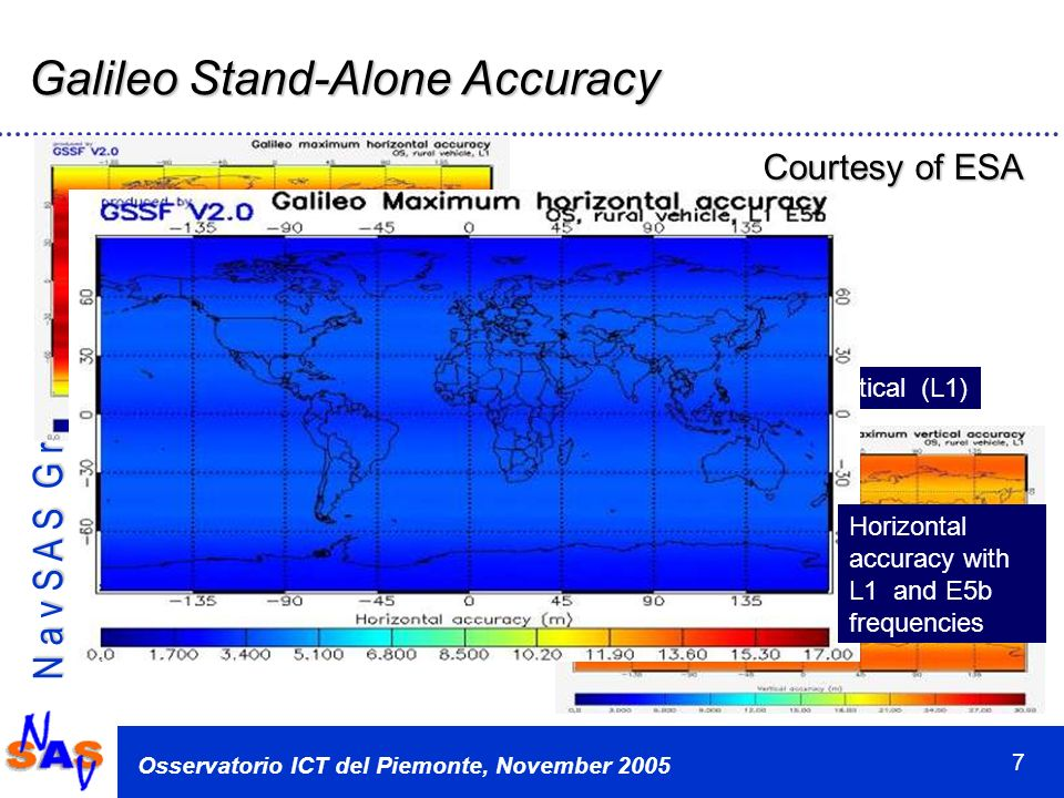N a v S A S G r o u p Osservatorio ICT del Piemonte, November 2005 7 Galileo Stand-Alone Accuracy Horizontal (L1) Vertical (L1) Horizontal accuracy with L1 and E5b frequencies Courtesy of ESA