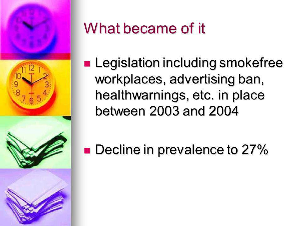What became of it Legislation including smokefree workplaces, advertising ban, healthwarnings, etc. in place between 2003 and 2004 Legislation includi