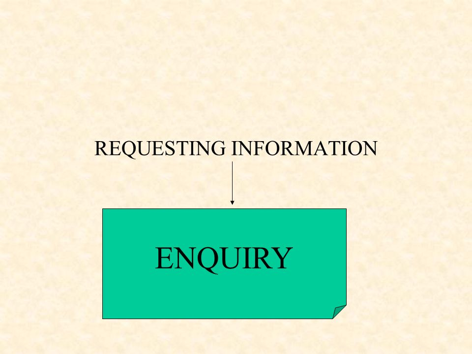 REQUESTING INFORMATION ENQUIRY
