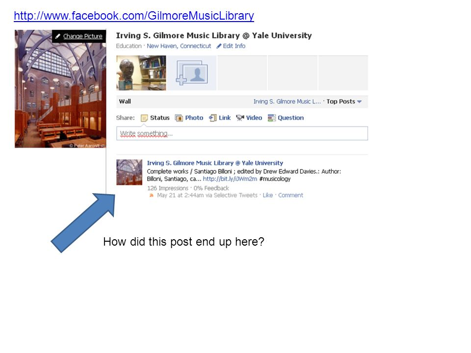 http://www.facebook.com/GilmoreMusicLibrary How did this post end up here?