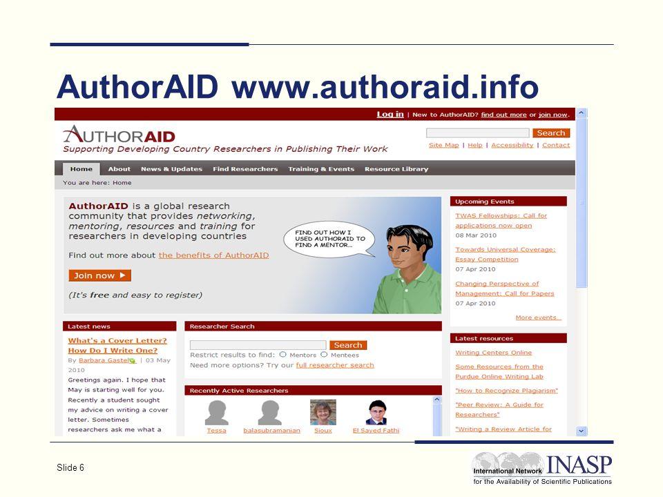 Slide 6 AuthorAID www.authoraid.info www.authoraid.info