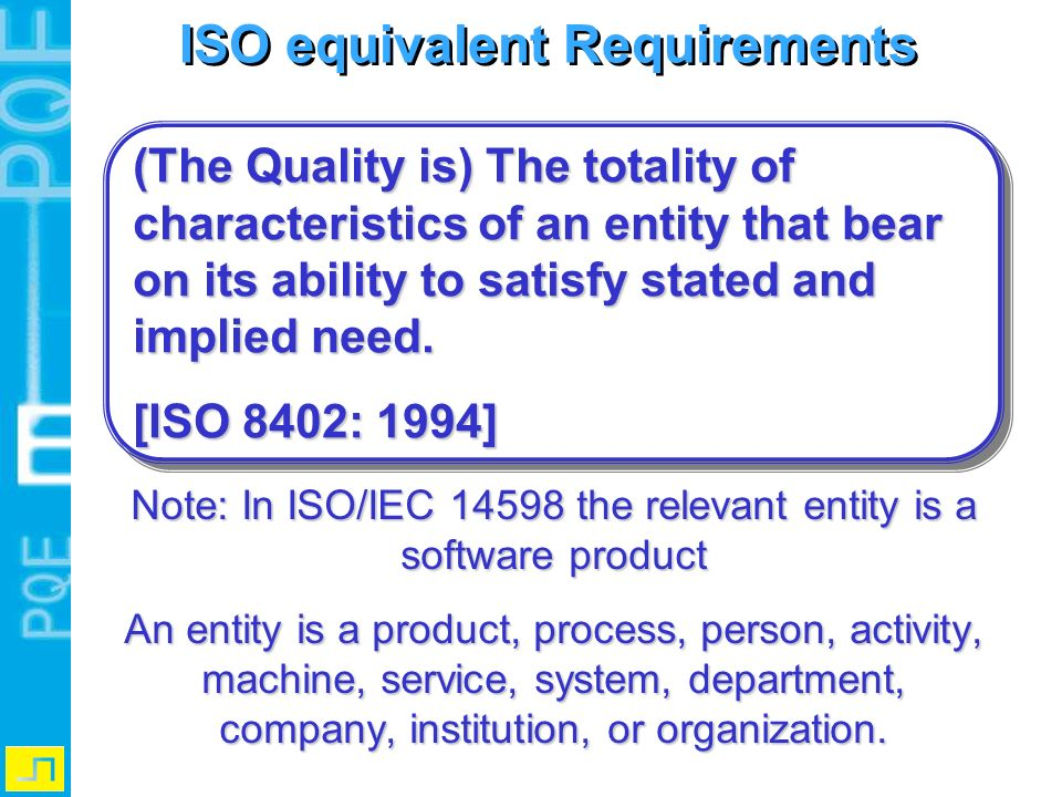 ISO equivalent Requirements Note: In ISO/IEC 14598 the relevant entity is a software product An entity is a product, process, person, activity, machin