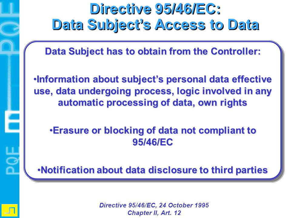 Directive 95/46/EC: Data Subjects Access to Data Directive 95/46/EC: Data Subjects Access to Data Directive 95/46/EC, 24 October 1995 Chapter II, Art.