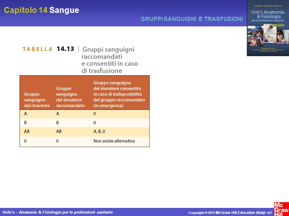 Capitolo 14 Sangue Holes – Anatomia & Fisiologia per le professioni sanitarie Copyright © 2013 McGraw-Hill Education (Italy) srl GRUPPI SANGUIGNI E TR
