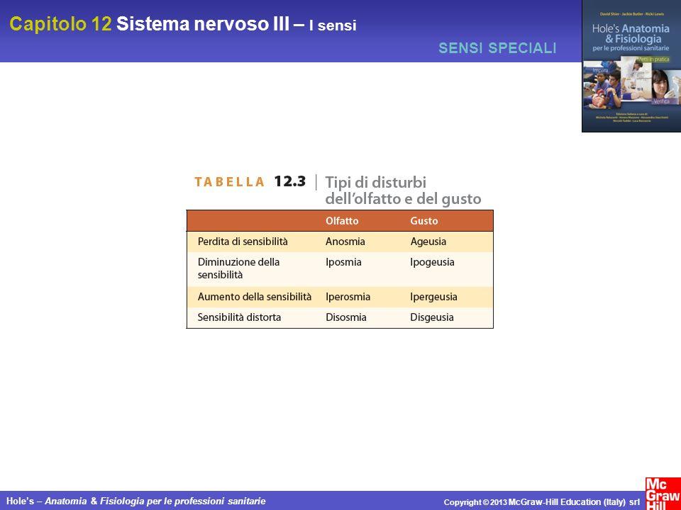Capitolo 12 Sistema nervoso III – I sensi Holes – Anatomia & Fisiologia per le professioni sanitarie Copyright © 2013 McGraw-Hill Education (Italy) sr