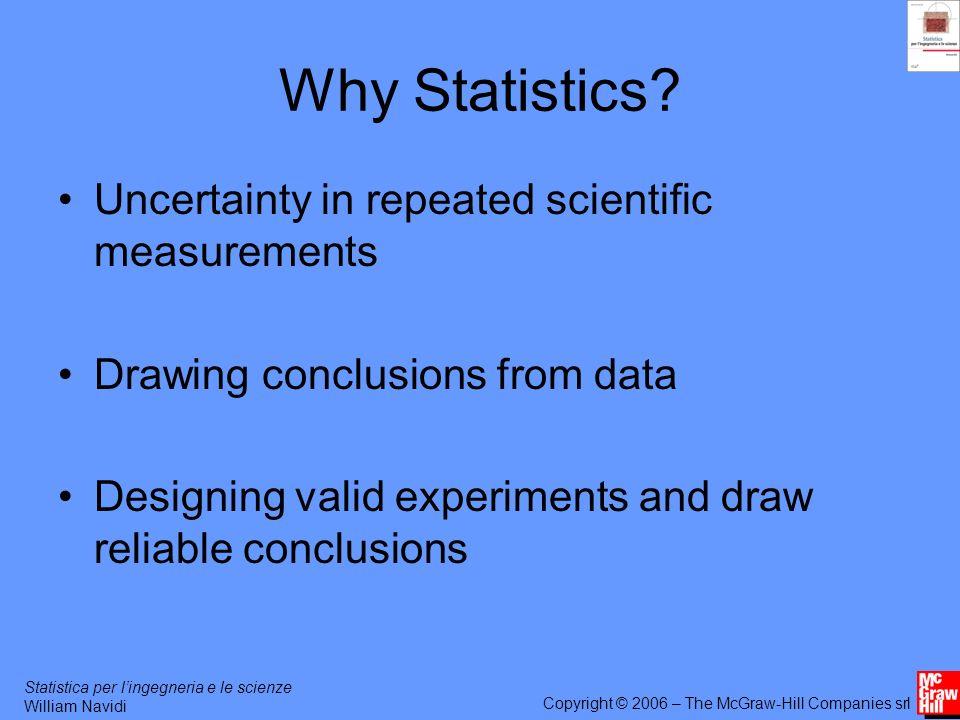 Statistica per lingegneria e le scienze William Navidi Copyright © 2006 – The McGraw-Hill Companies srl Why Statistics.
