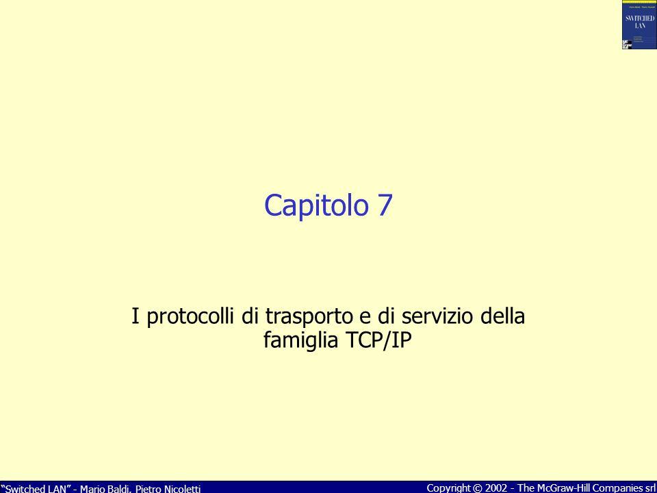 Switched LAN - Mario Baldi, Pietro Nicoletti Copyright © 2002 - The McGraw-Hill Companies srl Capitolo 7 I protocolli di trasporto e di servizio della