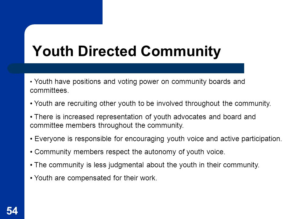 54 Youth Directed Community Youth have positions and voting power on community boards and committees. Youth are recruiting other youth to be involved