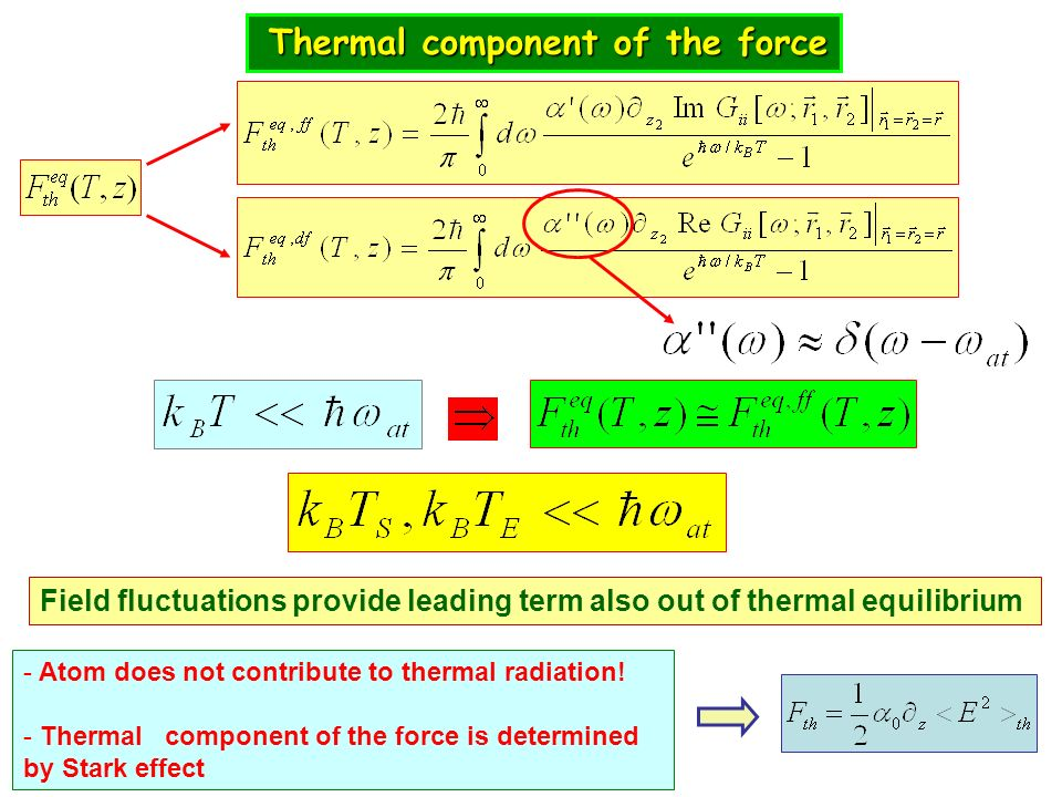 Thermal component of the force Thermal component of the force Field fluctuations provide leading term also out of thermal equilibrium - Atom does not