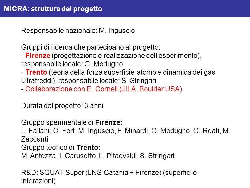 Responsabile nazionale: M. Inguscio Gruppi di ricerca che partecipano al progetto: - Firenze (progettazione e realizzazione dellesperimento), responsa