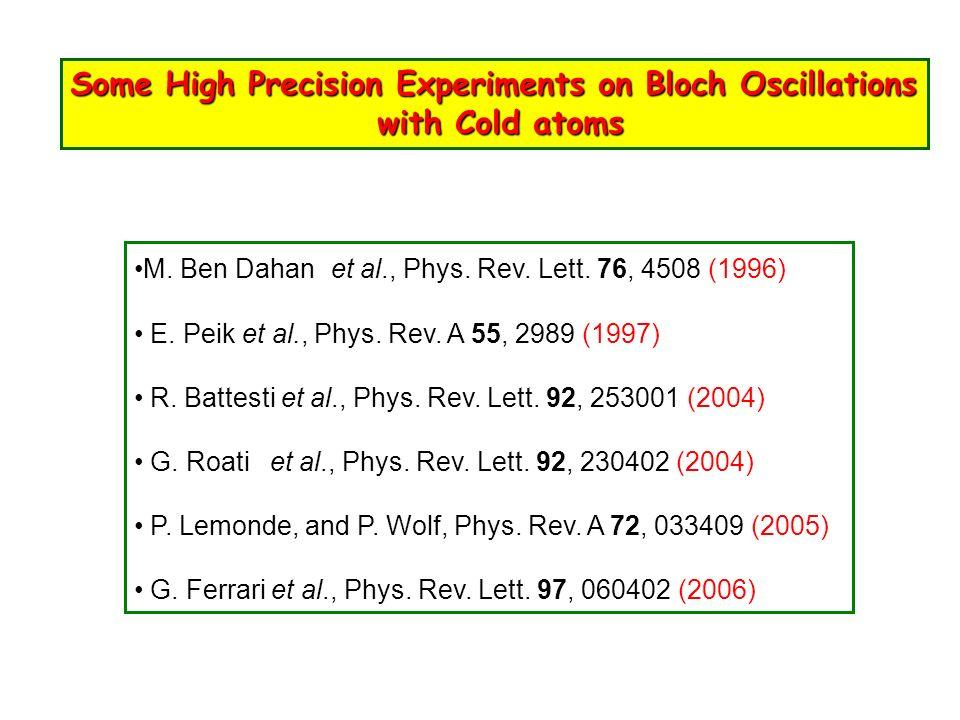 Some High Precision Experiments on Bloch Oscillations with Cold atoms with Cold atoms M. Ben Dahan et al., Phys. Rev. Lett. 76, 4508 (1996) E. Peik et