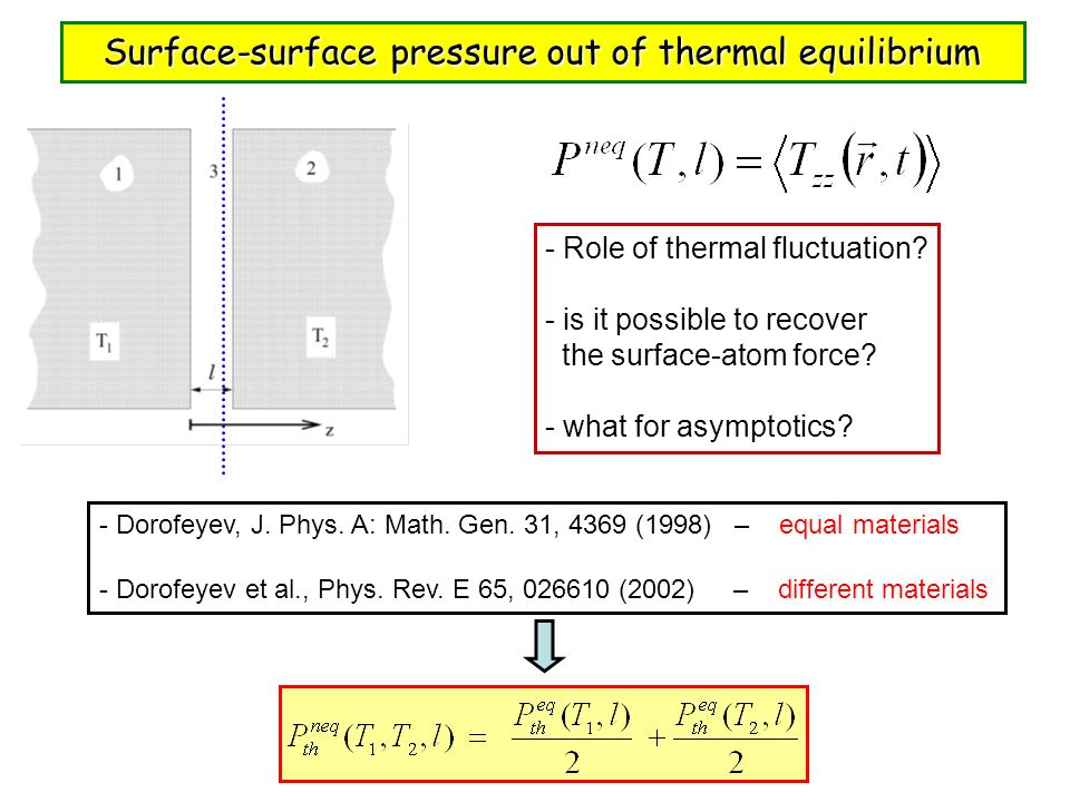 Surface-surface pressure out of thermal equilibrium - Role of thermal fluctuation? - is it possible to recover the surface-atom force? - what for asym