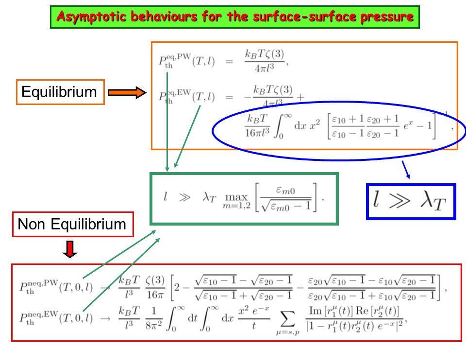 Asymptotic behaviours for the surface-surface pressure Equilibrium Non Equilibrium