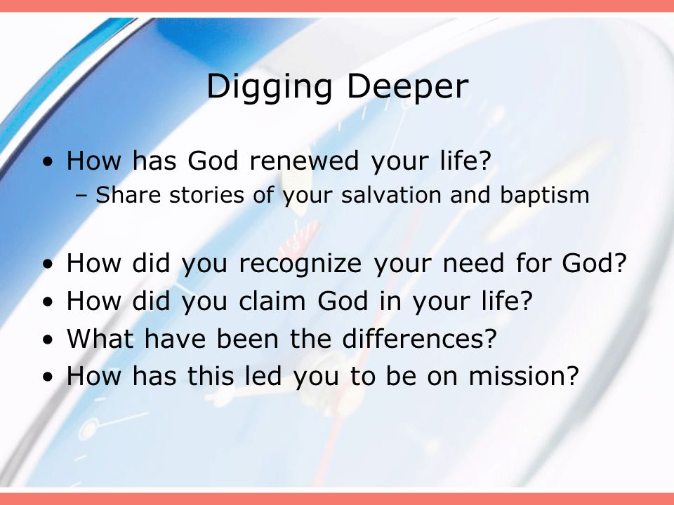 Digging Deeper To whom can our church be an instrument of hope.