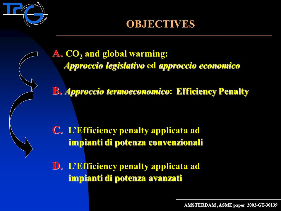 A. A. CO 2 and global warming: Approccio legislativo approccio economico Approccio legislativo ed approccio economico B. Approccio termoeconomicoEffic