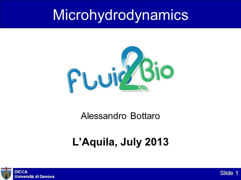 Microhydrodynamics Alessandro Bottaro LAquila, July 2013 DICCA Università di Genova Slide 1