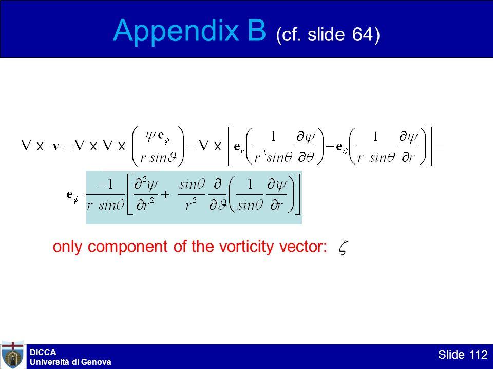 DICCA Università di Genova Slide 112 Appendix B (cf. slide 64) only component of the vorticity vector:
