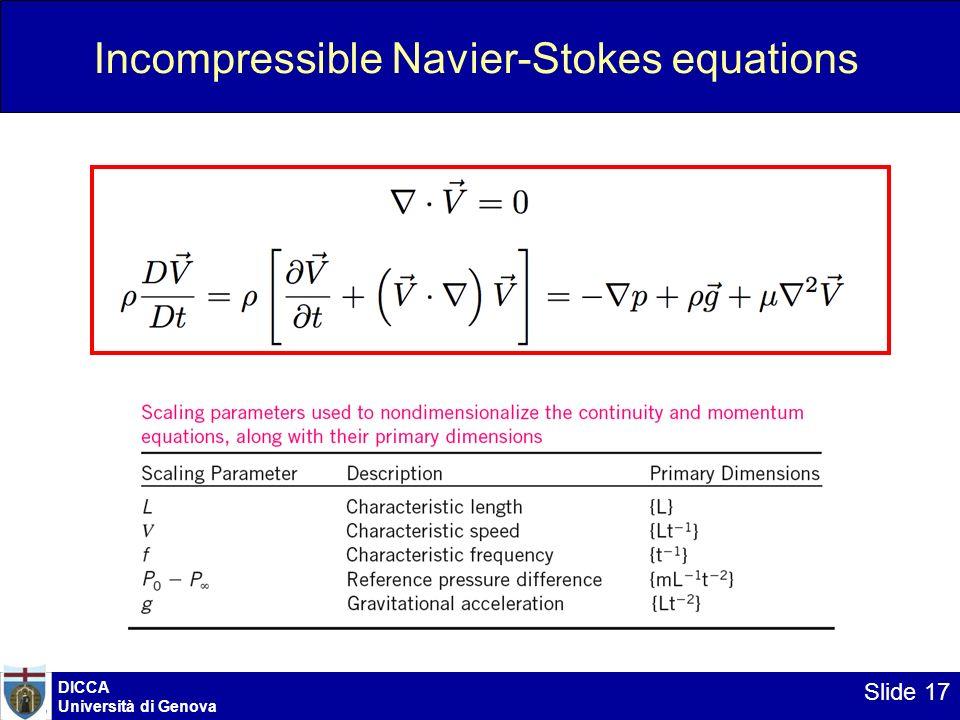DICCA Università di Genova Slide 17 Incompressible Navier-Stokes equations